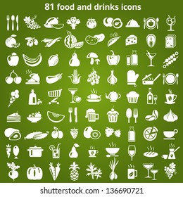 Set of food and drinks icons. Vector illustration.