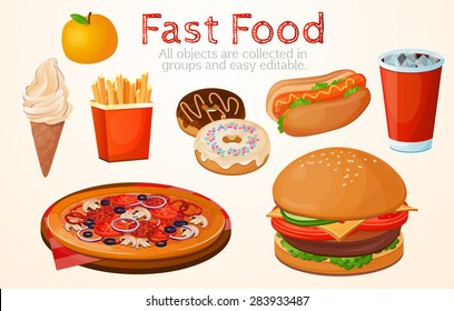 Set, food, fast, American, without a background, restaurant, cafe, white