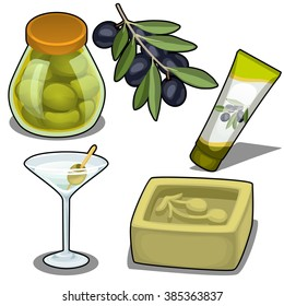 Set of food and hygiene products from olives and black olives. Vector illustration.