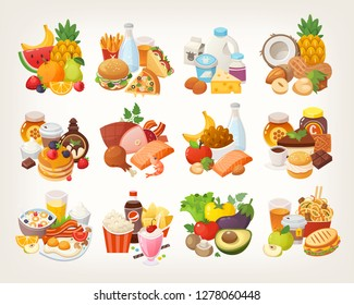 Set of food icons arranged in categories. Fruit and vegetables, meat and dairy, desserts and breakfast foods. Isolated colorful vector images.