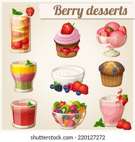 Set of food icons. Berry desserts. Strawberry smoothie, yogurt, strawberry lemonade, watermelon juice, salad, ice cream, blueberry muffin, cupcake, smoothie with peach, strawberry and kiwi.