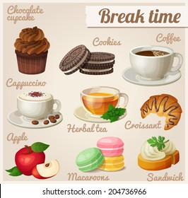 Set of food icons. Break time.  Chocolate cupcake, oreo cookies, cup of coffee, cappuccino, herbal tea, croissant, red apple, macaroons, sandwich.