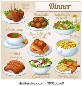 Set of food icons. Dinner. Lamb chops, spaghetti with meat balls, salad with olive oil, cream soup, bollion, grilled sausages, greek salad, chicken wings
