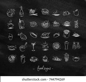 Set of food icons drawing with chalk on chalkboard