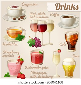 Set of food icons. Drinks. Cup of cappuccino, red, white and rose wine in glasses, cup of coffee, herbal tea, cola with ice cubes, strawberry smoothie, watermelon juice, champagne, glass of beer.