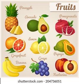 Set of food icons. Fruits.  Pineapple, avocado, pomegranate, grapefruit, lemon, papaya, banana, grape, nectarine.