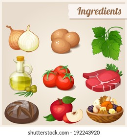 Set of food icons. Ingredients. Loaf of bread, raw eggs, fresh meat, tomatoes, olive oil in bottle, onions, parsley, red apple, dried fruits and nuts.