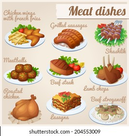 Set of food icons. Meat dishes. Chicken wings with french fries, grilled sausages, shashlik, meatballs, beef steak, lamb chops, roasted chicken, lasagna, beef stroganoff.