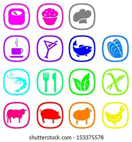Set of food icons in nice bright colors.