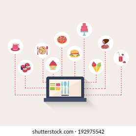 Set of food icons on a blog surrounding a laptop computer with coffee, sushi, pasta, pizza, burger, cake, ice cream cones, roast meat, cupcake, and cocktails, vector illustration