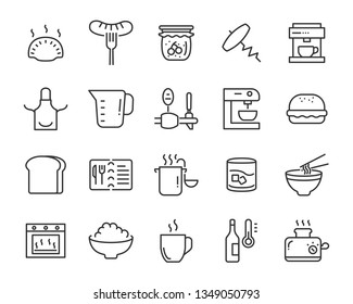 set of food icons, such as kitchen ware, tool, menu, glass