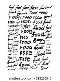 Set of ''food'' lettering vector