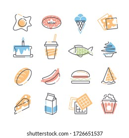 Set of food line and color flat icons.