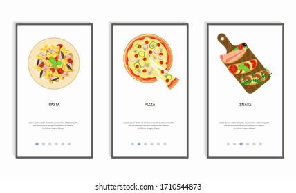 Set of food menu mobile app. Order food online, booking and home delivery service. Flat Art Vector Illustration