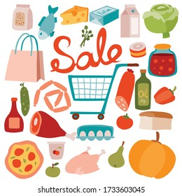 set of food products with a cart for products from the supermarket, isolated object on a white background, vector illustration,