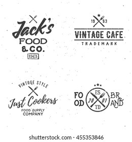 Set of food related vintage labels.