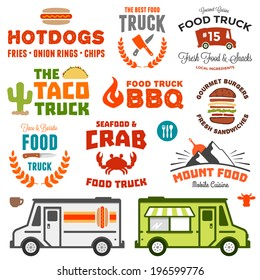 Set of food truck logo graphics and truck illustrations