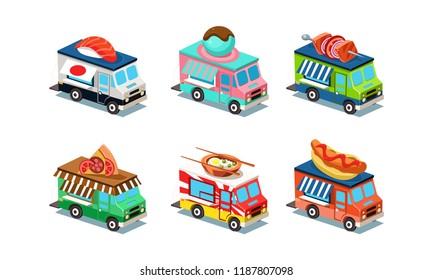 Set of food trucks in modern 3D style. Vans with Japanese cuisine, ice-cream, pizza, hot dog and barbecue. Flat vector design