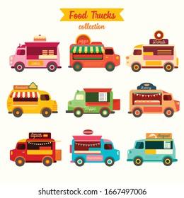 Set of food trucks vector