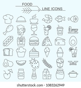 Set food vector line icons editable stroke