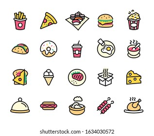 Set of Foods, Drinks Related Vector Line Icons. Contains such Icons as Pizza, Fries, Egg, Meat, Sushi, Chicken, Hamburger, Ice Cream, Donut, Soup, Sandwich, eggs and more. Editable Stroke. 48x48 Pixel