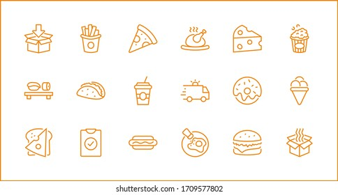 Set of Foods, Drinks Related Vector Line Icons. Contains such Icons as Pizza, Fries, Egg, Meat, Sushi, Chicken, Hamburger, Ice Cream, Donut, Soup, Sandwich, eggs and more. Editable Stroke. 32x32 Pixel