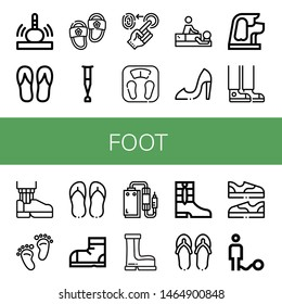 Set of foot icons such as Massage, Flip flops, Slippers, Crutch, Fingerprint, Bathroom scale, High heels, Dog, Sneaker, Leather shoe, Footprint, Snow boots, Pedal, Boots , foot