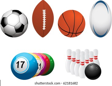 Set of football, american football, basket ball, rugby, bingo and bowling elements