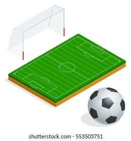 Set of Football elements. Isolated soccer goal, field and ball. Flat 3d isometric illustration. For infographics, games and design