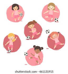 Set of Football Girls Team Pink Uniform. Vector illustration of kids playing soccer in different ethnic and action style isolated on pink white background.