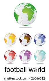 set of football globes - vector