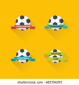 Set of football graphic icons flat design. Soccer club badge set.