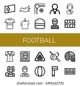 Set of football icons such as Portugal, Shirt, Russia, Billiard, Bola de berlim, Athlete, Referee, Soccer player, Hockey pitch, Cheerleader, Sport, Ball, Scarf, Football helmet , football