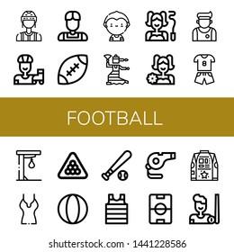 Set of football icons such as Referee, Roller skate, Athlete, Rugby, Soccer player, Flamenco, Gymnast, Cheerleader, Sport, Punching ball, Shirt, Billiard, Ball, Baseball ball , football