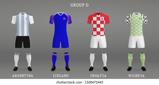 Set of football kits, shirt template for soccer jersey. Vector illustration