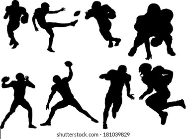 The set of football player silhouettes