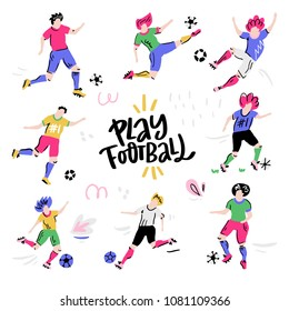 Set of football players with the ball. Colorful vector art on white background.
