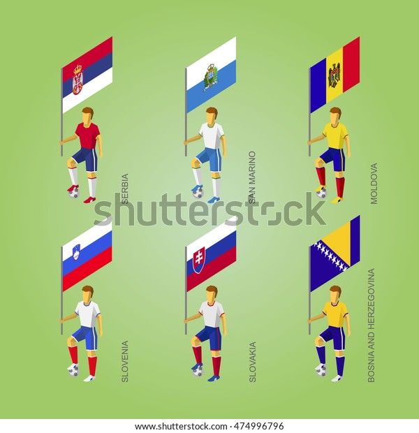 Set Football Players Flags Europe Soccer Stock Vector Royalty Free 474996796