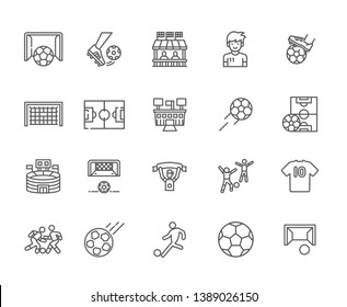 Set of football Related Vector Line Icons. Includes such Icons as the football field, kick, stadium, penalty, offside, fan, victory, match, goal, tribune, football players, soccer - vector