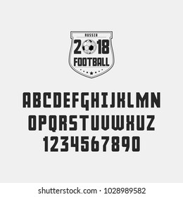 Set of football (soccer) - badge, logo and font. Vector illustration.