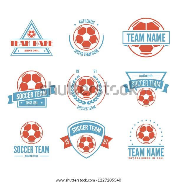 Set Football Soccer Club Logo Set Stock Vector (Royalty Free