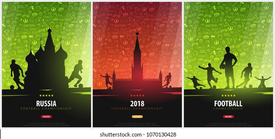 Set of Football or Soccer design posters with hand draw doodle elements on a background and football player silhouette. Soccer championship. Vector illustration