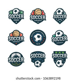 set of football, soccer logos. sport emblems, badges, design elements, logotype templates vector illustration
