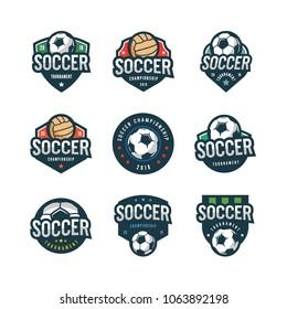 set of football, soccer logos. sport emblems, badges, design elements, logotype templates vector illustration