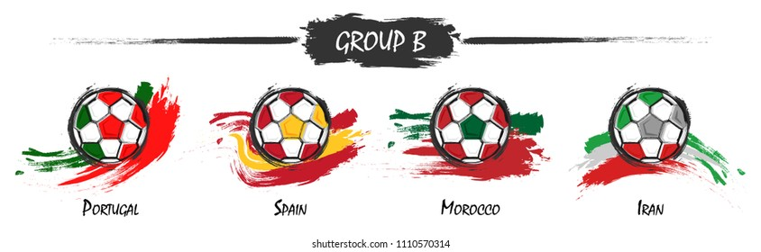 Set of football or soccer national team group B . Watercolor paint art design . Vector for international world championship tournament cup 2018 .