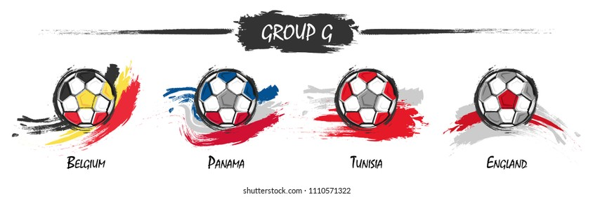 Set of football or soccer national team group G . Watercolor paint art design . Vector for international world championship tournament cup 2018 .