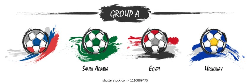 Set of football or soccer national team group A . Watercolor paint art design . Vector for international world championship tournament cup 2018 .