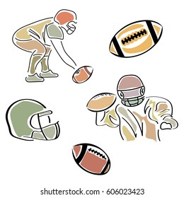Set of football symbols vector images in minimal linear style isolated on white. Sportswear, helmet, ball and footballer sign. Emblem for stadium, sports shop, football school, trophies, competition.