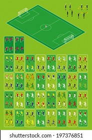 Set for football-soccer isometric infographics. 144 figures. 32 national teams. Home and away uniforms. Goalkeepers. Referees. Field with goals.