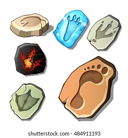 A set of footprints of fossil animals and man isolated on white background. Vector cartoon close-up illustration.